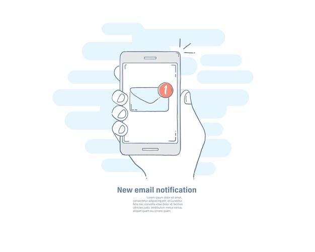 Новое уведомление по электронной почте на смартфоне.
