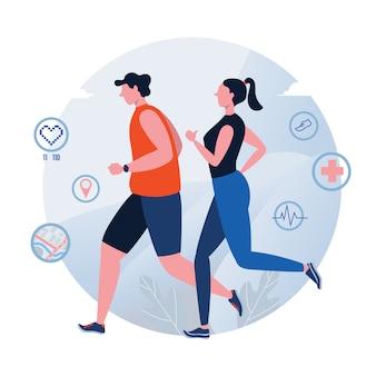 ランニング。ジョギング。世界保健デー。