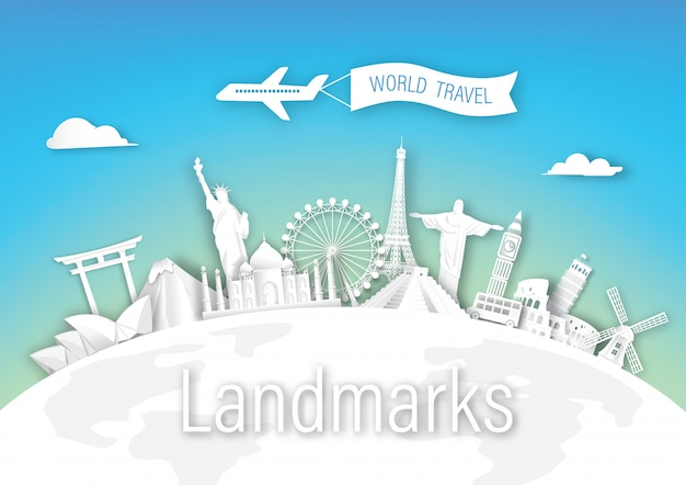 ヨーロッパ、アジア、アメリカの世界旅行のランドマークアーキテクチャ
