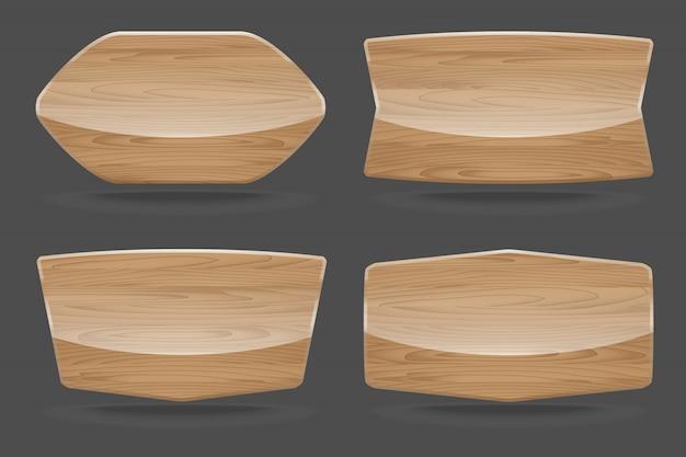 Набор деревянных вывесок с глянцевой