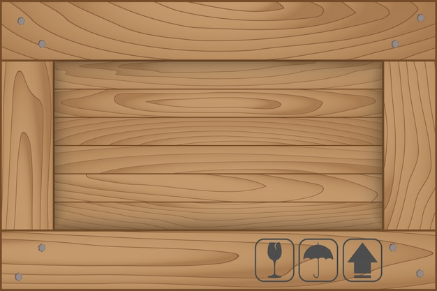 Текстура деревянной коробки и хрупкий символ на белом фоне