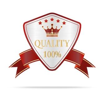 高級シルバーと赤の品質シールドラベル
