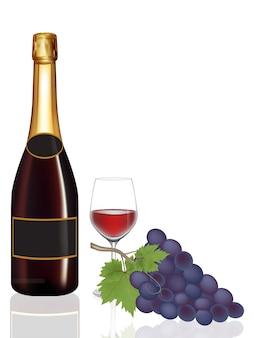 Бутылка вина, бокал вина и виноград, иллюстрация