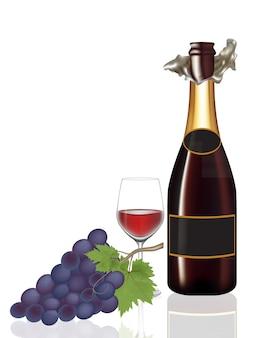 Открытая бутылка вина, бокал вина и винограда, иллюстрация