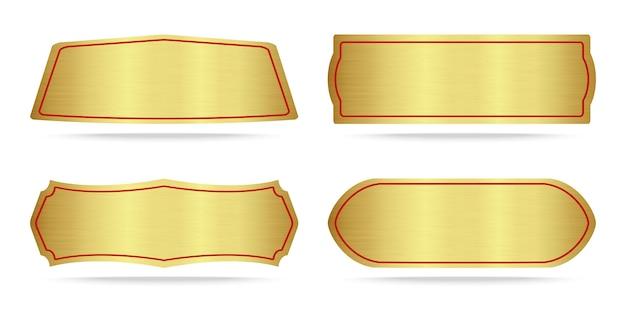 Набор металлических табличек с золотым названием