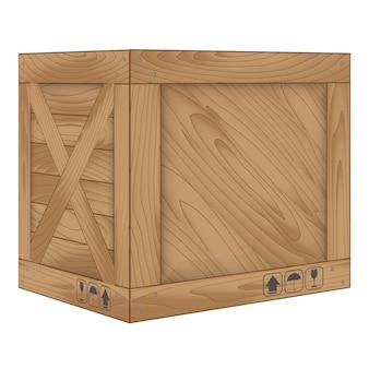 Коричневый деревянный ящик на белом