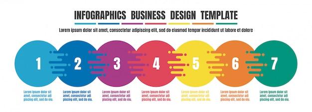 インフォグラフィックタイムラインビジネスのためのカラフルなデザインテンプレート