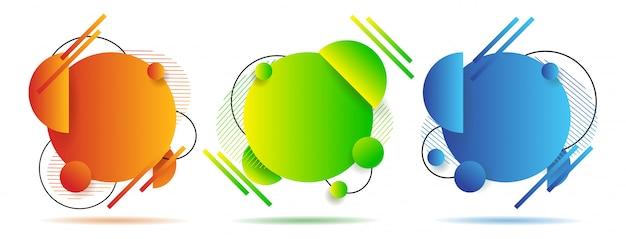 Установите абстрактные красочные жидкие геометрические фигуры. дизайн градиента жидкости