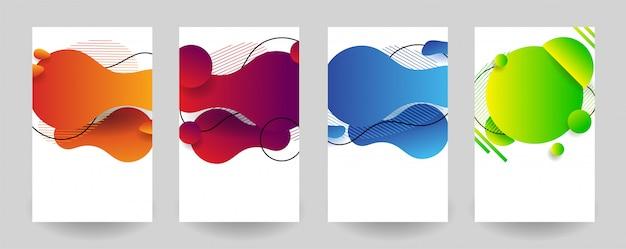 抽象的なカラフルな液体の幾何学的形状を設定します