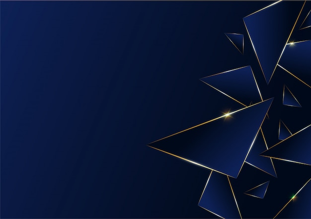 濃い青の抽象的な多角形パターン高級ゴールデンライン