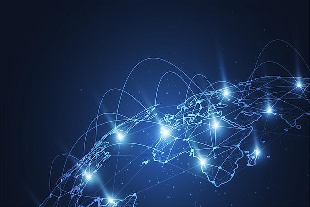 グローバルネットワーク接続世界地図のポイント