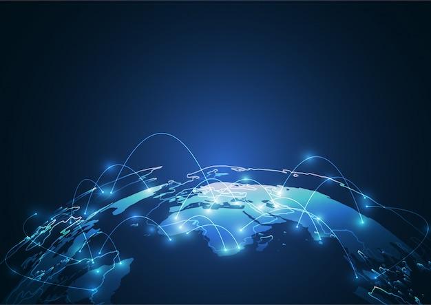Глобальное сетевое соединение. фон карты мира