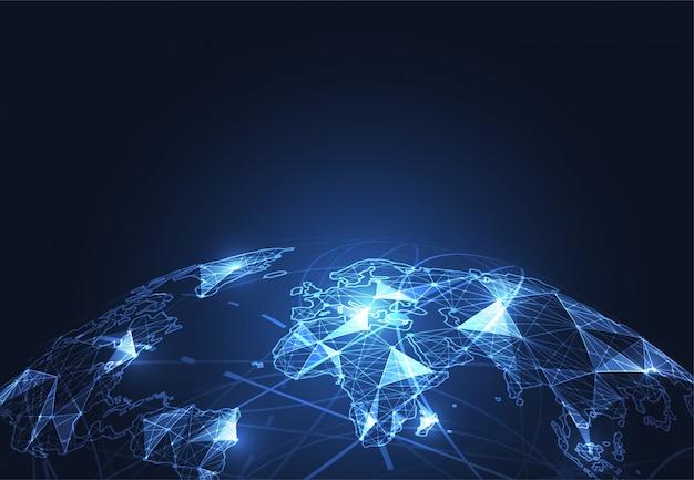 Подключение к глобальной сети, точка на карте мира