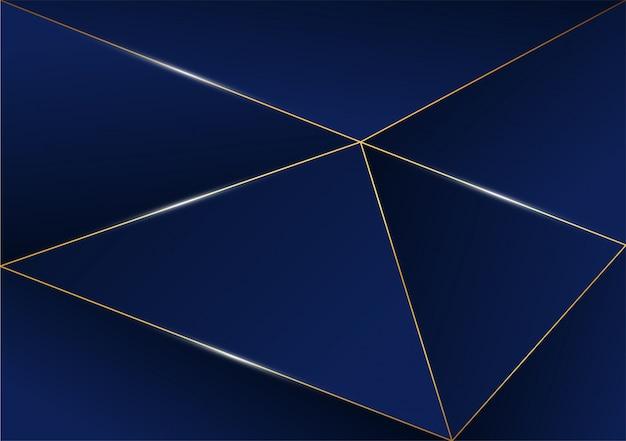 Абстрактная полигональная картина роскошная золотая линия с темно-синим