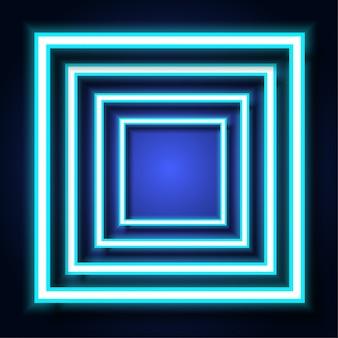背景に青いネオンの光の正方形のフレーム。