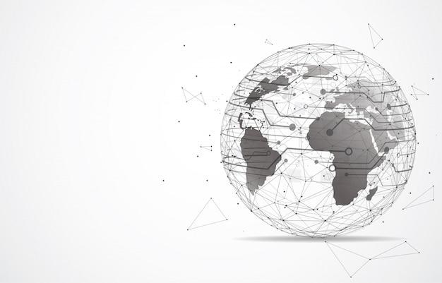 グローバルネットワーク接続。世界地図のポイントとライン