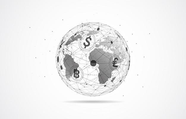 グローバルネットワーク接続。通貨コイン。送金
