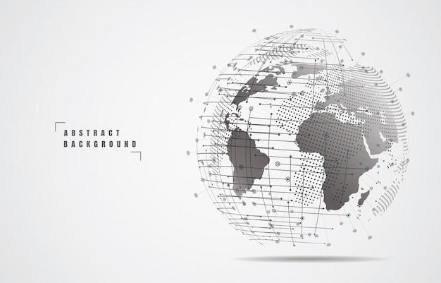 グローバルネットワーク接続。世界地図のポイントとラインの構成