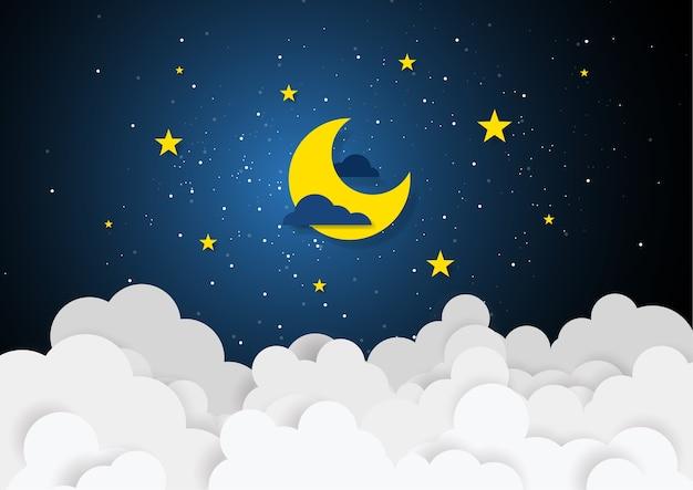Бумажный стиль искусства луны и звезд в полночь