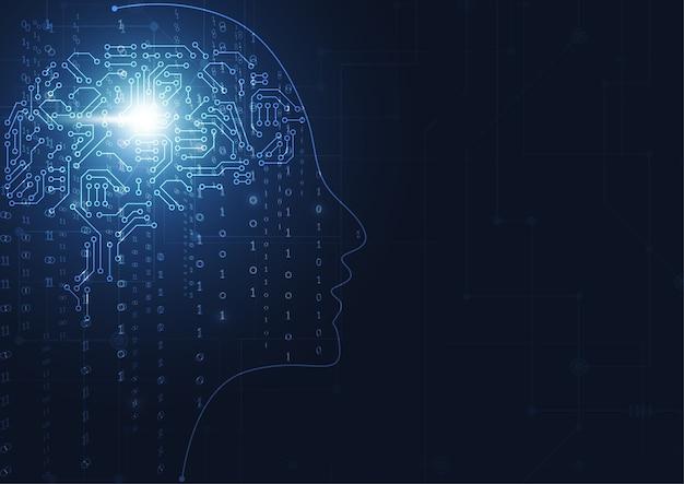 人工知能。抽象的な幾何学的人間の頭部