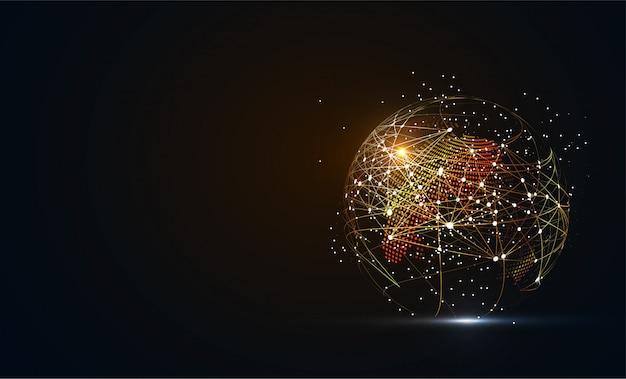 グローバルネットワーク接続。世界地図点