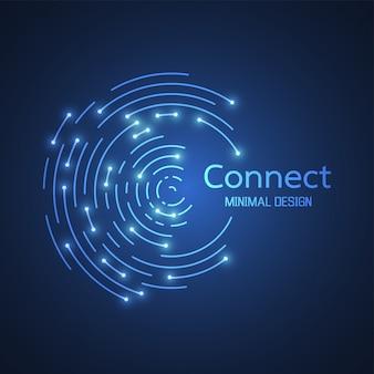 抽象的なネットワーク接続。アイコンのロゴデザイン。ベクトル図