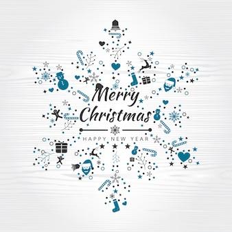 要素の雪片とメリークリスマスの背景