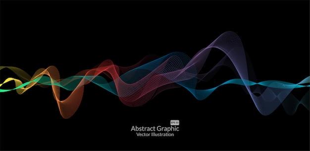 黒の背景に抽象的なカラフルな波線