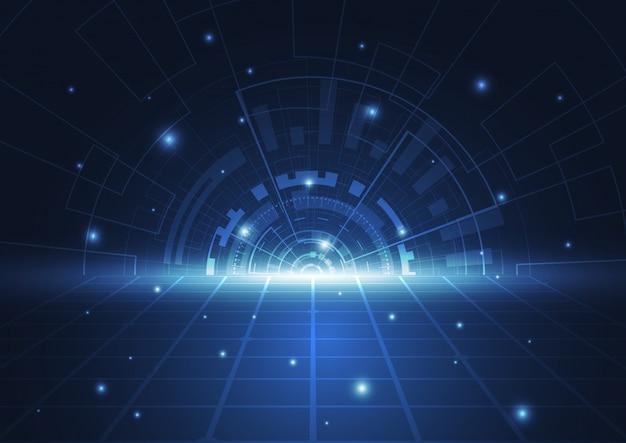 抽象的なテクノロジーサークルブルーイノベーションの概念