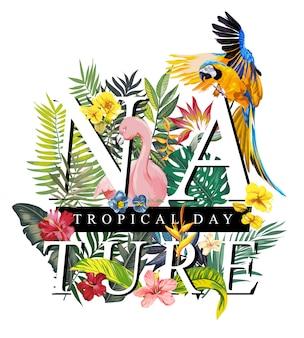 フラミンゴとエキゾチックな花のイラストを描く自然スローガン
