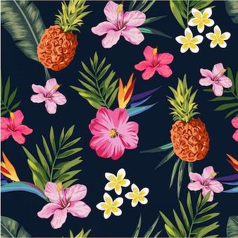 花とパイナップルのシームレスなイラストパターン
