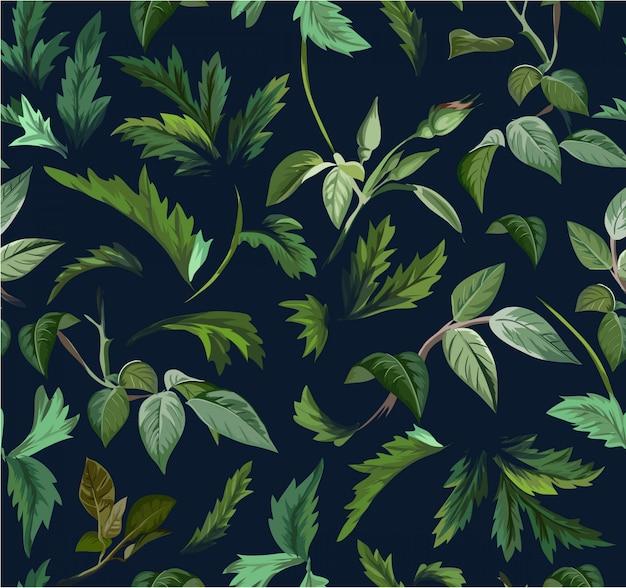 シームレスな緑の葉のイラストパターン