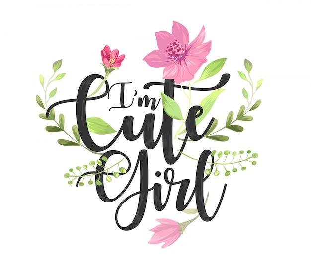パステル調の花のベクトル図とかわいい女の子スローガン
