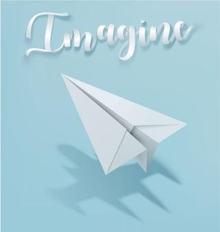 紙飛行機鋳造ジェットシャドウとスローガンを想像してください。