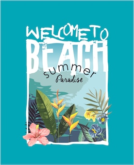 熱帯のビーチと花のイラストとスローガン