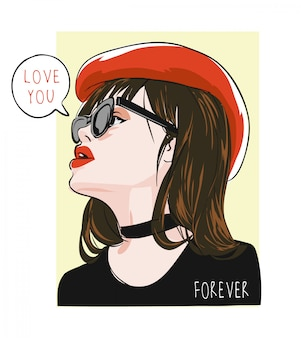 Люблю тебя навсегда с девушкой в красной шляпе иллюстрации