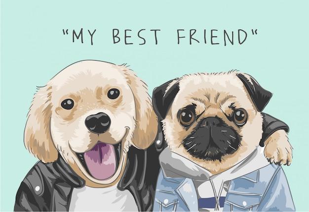 Слоган «мой лучший друг» с иллюстрацией милых собак