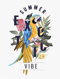 野生の森のコンゴウインコ鳥のエキゾチックなスローガン