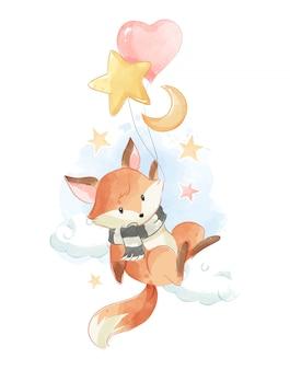 Милая лиса держит воздушные шары в небе