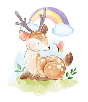 Мультфильм олень сидит с бабочкой и радугой