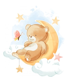 月のイラストで寝ているかわいいクマ