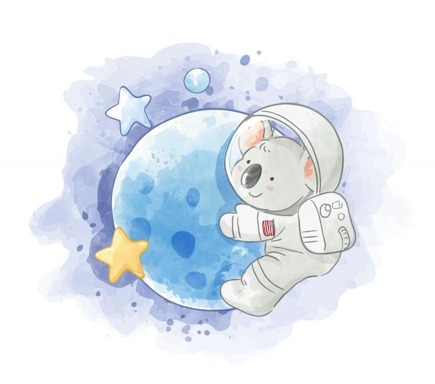 月のイラストの宇宙飛行士コアラ