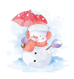 赤い傘の図と雪だるま