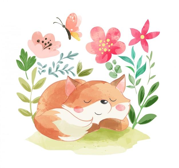 夏の花のイラストがかわいい眠っているキツネ
