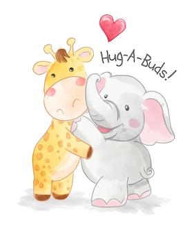 かわいい動物の友達がお互いを抱きしめるイラスト
