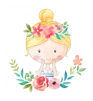 花の王冠イラストの漫画かわいい女の子