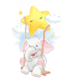 Мультфильм слон на качелях звезды