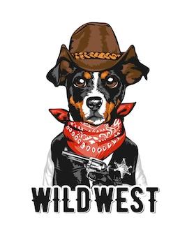 Лозунг с иллюстрацией ковбой шериф собака