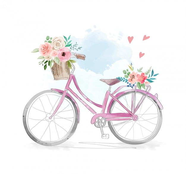 Акварельный велосипед с цветами в корзине иллюстрации