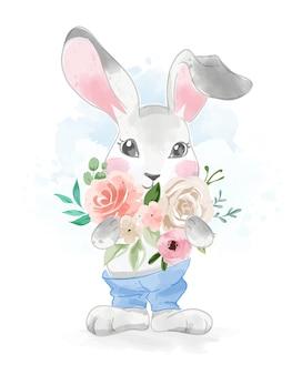 Милый кролик в синих штанах с букетом цветов иллюстрации